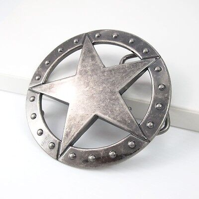 Vintage Silver Ranger Sheriff Star Mens Womens Western Belt Buckle FREE GIFT BOX