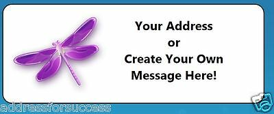 60 Personalized Purple Dragonfly Return Address Labels
