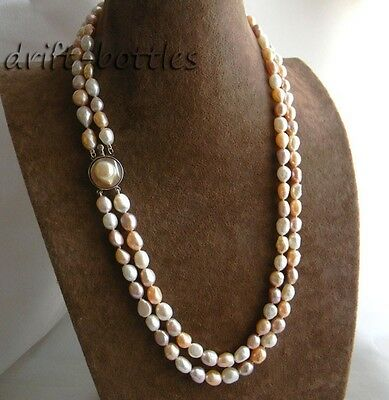 2Strands 22'' 8MM Baroque White Pink Lavender  Freshwater Pearl Mabe Necklace