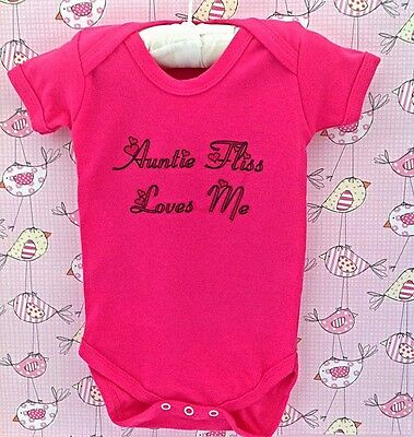 Beautiful cerise Pink baby girl PERSONALISED babygrow/bodysuit vest ANY SLOGAN