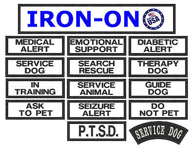 Small Service Working Dog Patch 1x3 For Vests Choose From 14 Patches Therapy K9