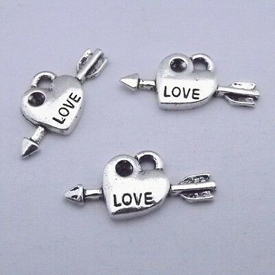 50pcs  lovely Tibet silver heart-shaped charms pendant 21*11mm