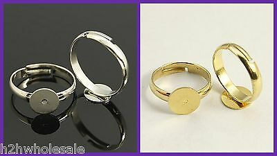 14mm Gold Silver Adjustable Children's Small Ring Blanks ~ Jewellery Making ~ UK