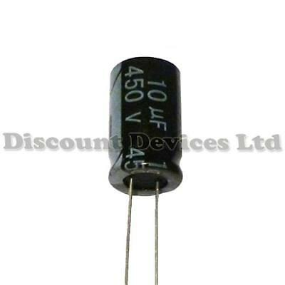 5x 10uF 450V Radial Electrolytic Capacitor 105C Pitch:5mm