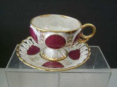 Vintage Japan Red Iridescent Gold Trim Cup Saucer Scalloped Pierced Cut-out