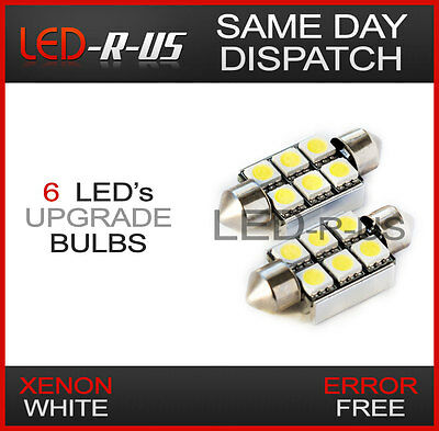 Error Free Canbus License Number Plate 6 SMD LED Light Bulbs BMW E46 Coupe White