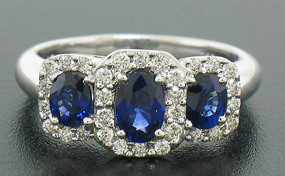 NEW 18k White Gold 2ctw GEM Sapphire and Diamond Oval 3 Stone Halo Ladies Ring