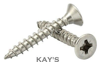 4mm/8g A2 Stainless Steel Pozi Countersunk Fully Threaded Chipboard/Wood Screws
