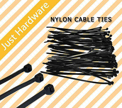Black Nylon Cable Tie Ties 2.5 3.5 4.8 7.2 x 100 150 200 300 370 400 mm New
