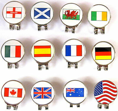 "Hat Clip with Magnetic Golf Ball Marker Different Countries Please Choose ""NEW"""
