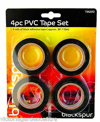 Black PVC Electrical Insulation Tape 18mm x 12m (pack of 4) FREE P&P