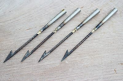 4x Spear harpoon hunting Fish Bowfishing archery Arrowhead Broadhead Antique VTG