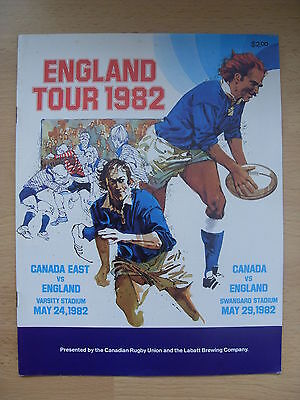 Canada v England 1982 Rugby Programme