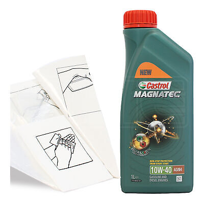 Engine Oil Top Up 1 LITRE Castrol Magnatec 10w-40 1L +Gloves,Wipes,Funnel