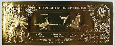 $50 Brown Pelican-The First Gold Bank Notes of Belize w/ Presentation Card