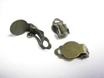 12pc antique bronze finis clip on earring components-2309