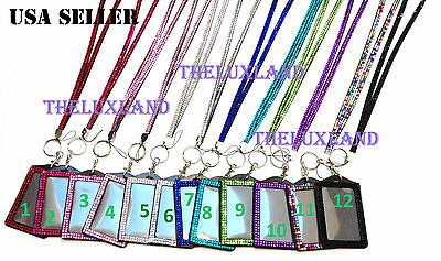 Rhinestone Bling Bling Crystal Lanyard Cell Phone + Vertical ID Badge Holder