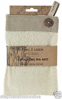 Hydrea London Natural Sisal & Linen Exfoliating Square Spa Mitt MT09