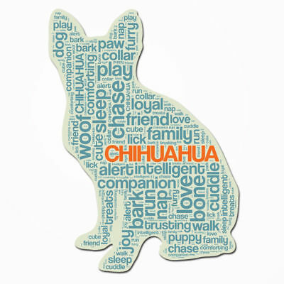 Chihuahua Dog Breed Cutout Vinyl Decal Bumper Sticker Characteristic Silhouette