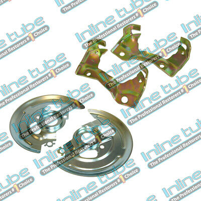 64-74 Front Disc Brake Single Piston Caliper Mounting Brackets & Backing Plates