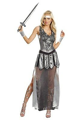 "NEW Women's Medieval Costume ""One Hot Knight"" Silver Armor Dress Small"
