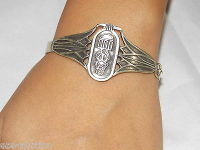Egyptian Stamped Silver Cartouche & Lotus Flower Theme Bracelet Bangle US Seller