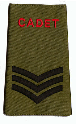 Pair of  ACF / CCF Sergeant SGT RANK SLIDES for MTP ( Army Cadet Force CADETS