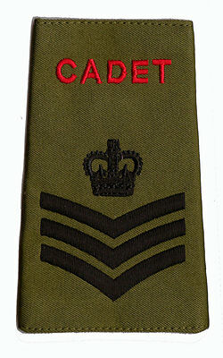 Pair of  ACF / CCF Staff Sergeant S/SGT RANK SLIDES for MTP ( Army Cadet Force