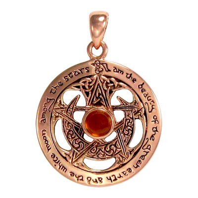 Copper Crescent Moon Pentacle Pentagram Pendant with Amber Wiccan Dryad Design