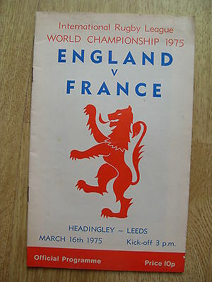 England v France 1975 World Championship Rugby League Programme