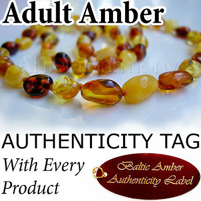 Multicolour (Oval beads) Certified Baltic Amber ADULT NECKLACE
