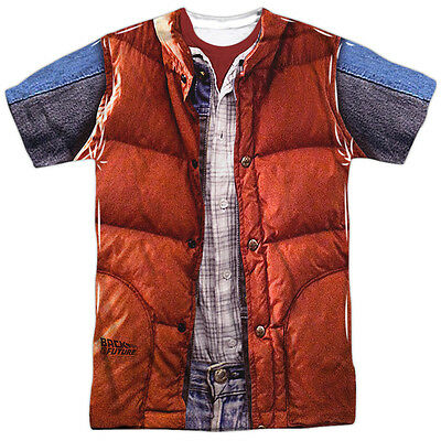 Back to the Future Movie Marty McFly Costume All Over Print Poly Shirt S-3XL