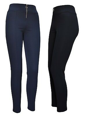 Women Girls skinny stretch trousers silver zip office every day black navy blue
