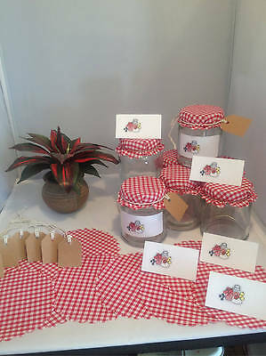10 Red Gingham Jam Jar Covers with Free Gift Tags Labels, String & Elastic Bands