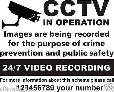 CCTV Camera in operation Warning Aluminium Sign Security Plate Black Colour