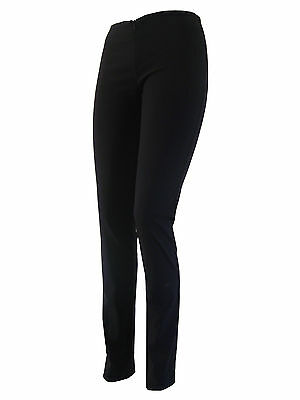Ladies Girls Women skinny stretch trousers invisible zip office school black inv