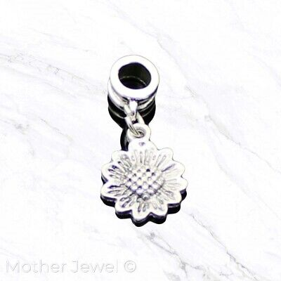Sunflower Flower Dangle Sterling Silver Plated European Bracelet Charm Bead
