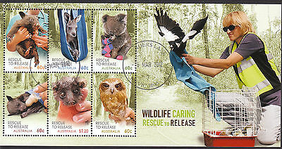 AUSTRALIA 2010 Wildlife Caring Rescue Souvenir Sheet Superb CTO