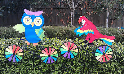 Garden Windmill Decoration - OWL/PARROT on bike