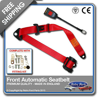 Ford Fiesta Mk2 1983-1989 Front Automatic Seatbelt Red