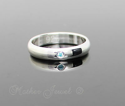 Aqua Ice Blue Cz Sterling Silver Plated Wedding Anniversary Eternity Band Ring