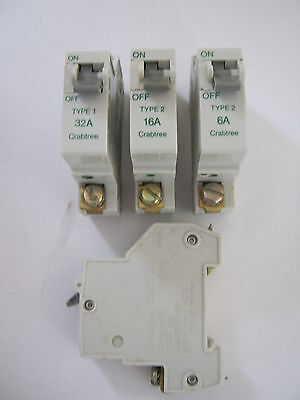 Crabtree Sb6000 Type 1 Type 2 6 10 16 20 32 40 Amp Mcb Circuit Breakers