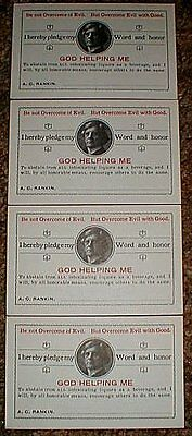 "Lot Of 4 WCTU Temperance ""Pledge Cards"", Sobriety, AA, Minty! Free US Shipping!"