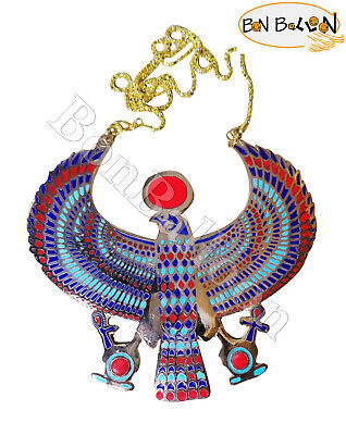 Egypt Horus Jewelry Necklace Pendant Ankh Key Life Xxl Solid Brass Pharaoh 102