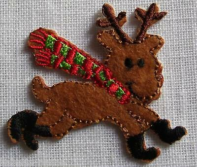 ÉCUSSON BRODÉ - APPLIQUE PATCH  thermocollant - RENNE de NOËL ** 5 x 5 cm **