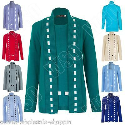 aaff473936 ... Two Layer Ladies Sweater Knitted Jumper Size S M L XL.