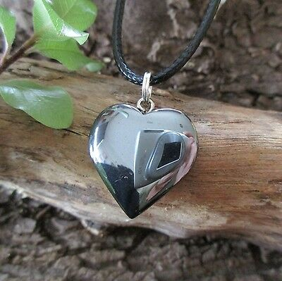 HEMATITE Heart Crystal Gemstone Ying Yang * Intuition * Memory Necklace Pendant