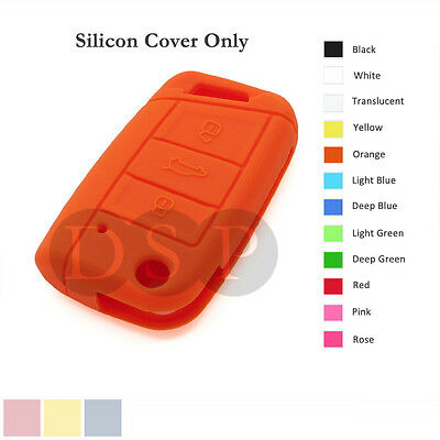 Silicone Cover fit for VOLKSWAGEN Golf 7 GTI Flip Remote Key Case 3 BTN 12 C OR