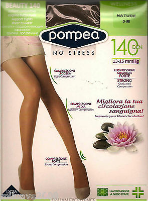 Media Panty Tights Collants Pompea -140Den Compresion Forte Masaje Y Relax