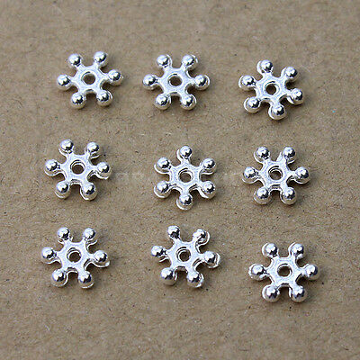 New 500 Pcs Silver Plated Snowflake Spacer Beads Cute 8mm Necklace Craft Finding